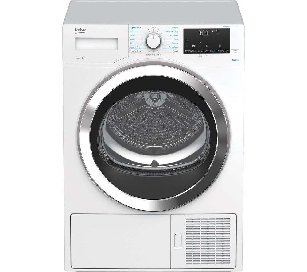 Image of BEKO RapiDry DPHX80460W 8 kg Heat Pump Tumble Dryer - White, White