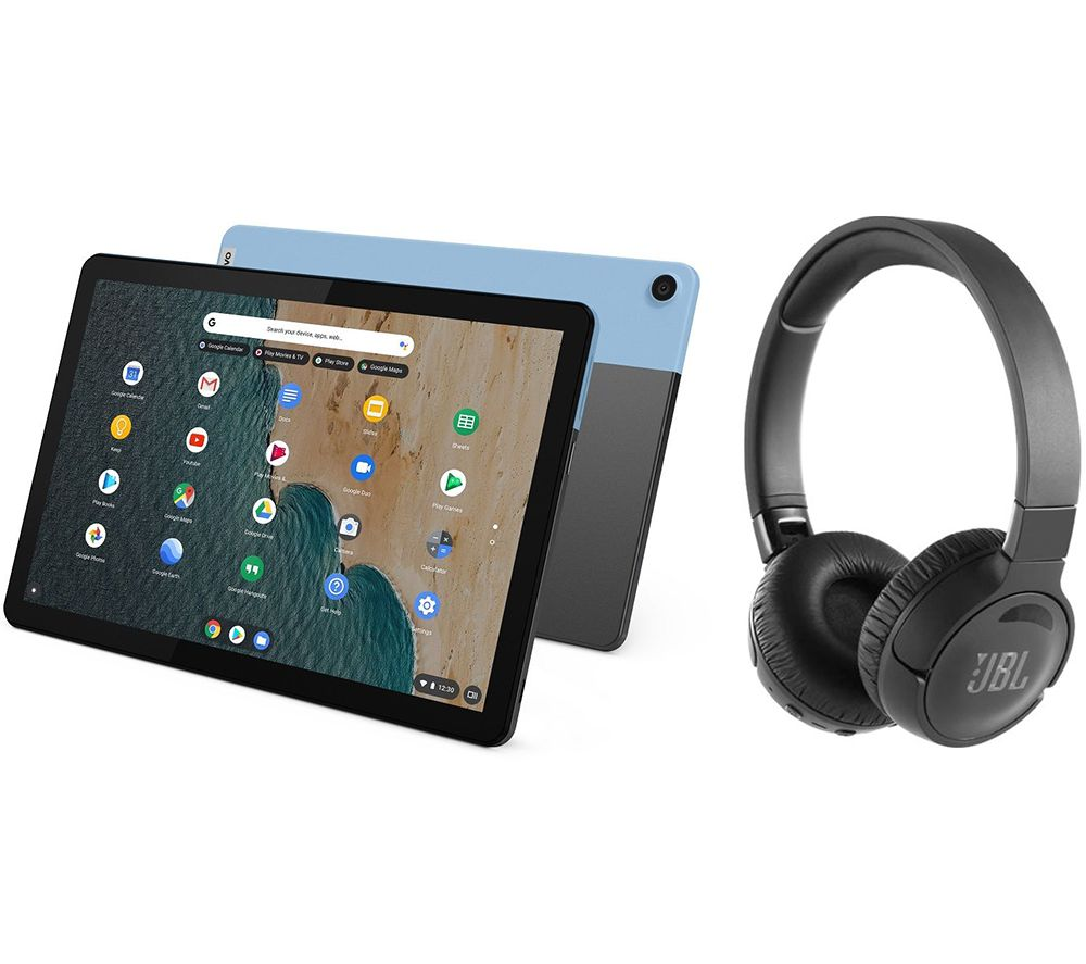"Image of LENOVO IdeaPad Duet 10.1"" 2 in 1 Chromebook & Wireless Noise-Cancelling Headphones Bundle - MediaTek P60T, 128 GB eMCP, Blue & Grey, Blue"