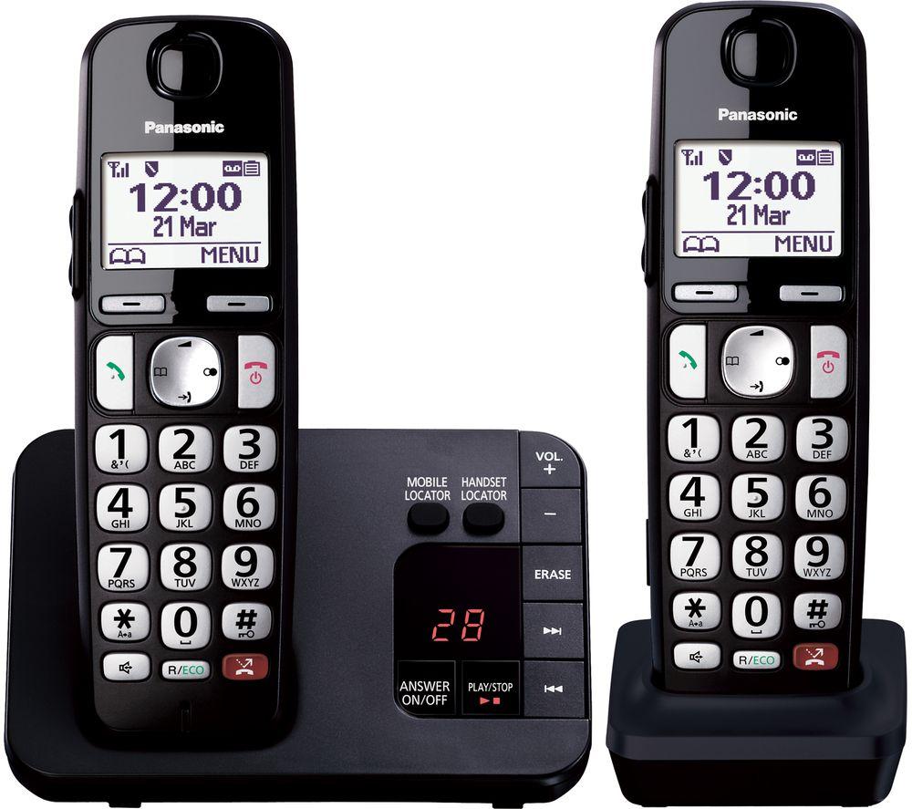 PANASONIC KX-TGE822EB Cordless Phone - Twin Handsets