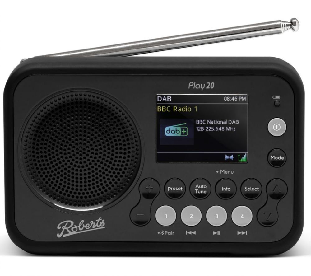 ROBERTS PLAY20BK Portable DABﱓ Bluetooth Radio - Black, Black