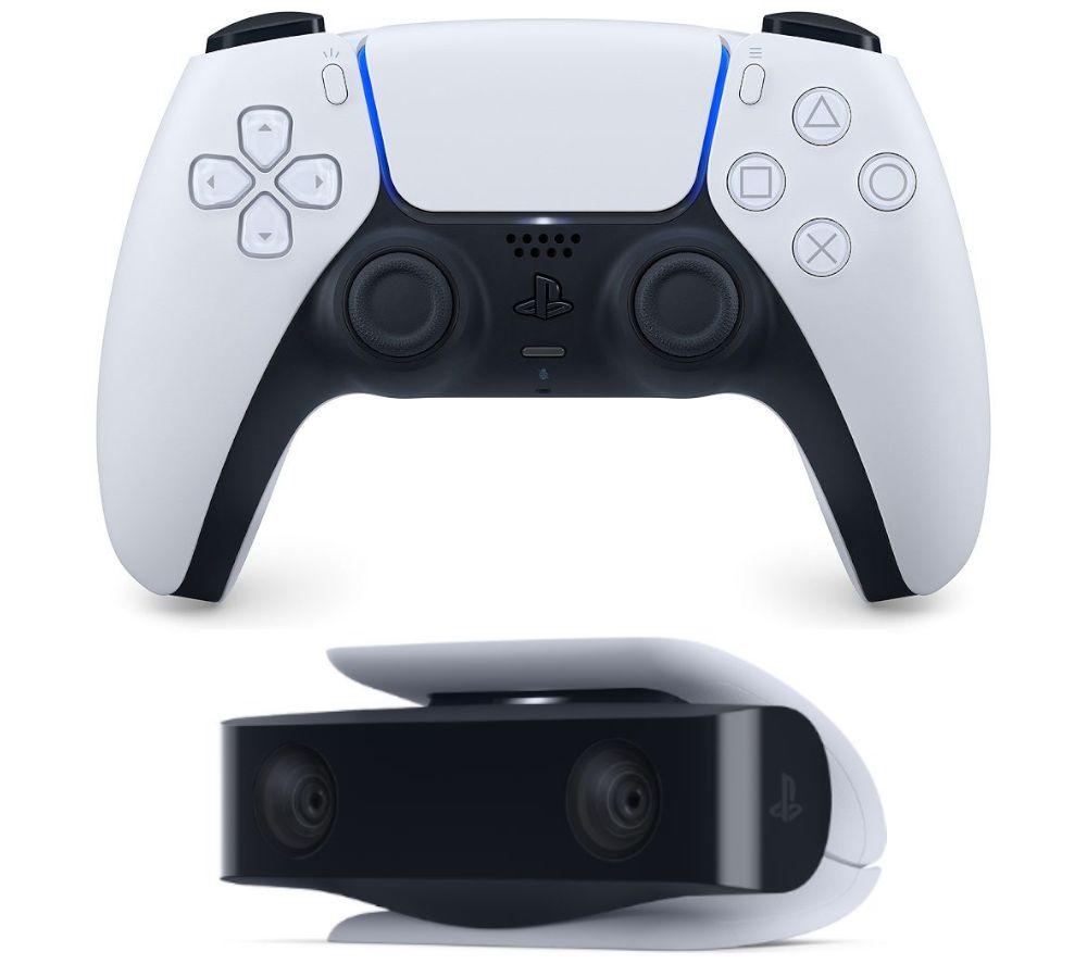 PLAYSTATION PS5 DualSense Controller & PS5 HD Camera Bundle - Black & White, Black