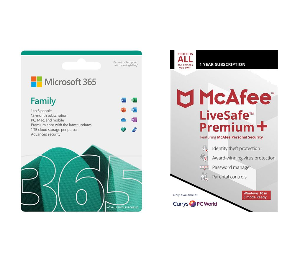 Image of MICROSOFT 365 Family (1 year for 6 users) & LiveSafe Premium (1 year for unlimited devices) Bundle