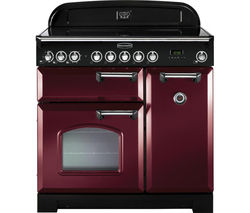RANGEMASTER Classic Deluxe 90 Electric Ceramic Range Cooker - Cranberry and Chrome