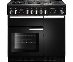 RANGEMASTER Professional+ 90 Gas Range Cooker - Black & Chrome