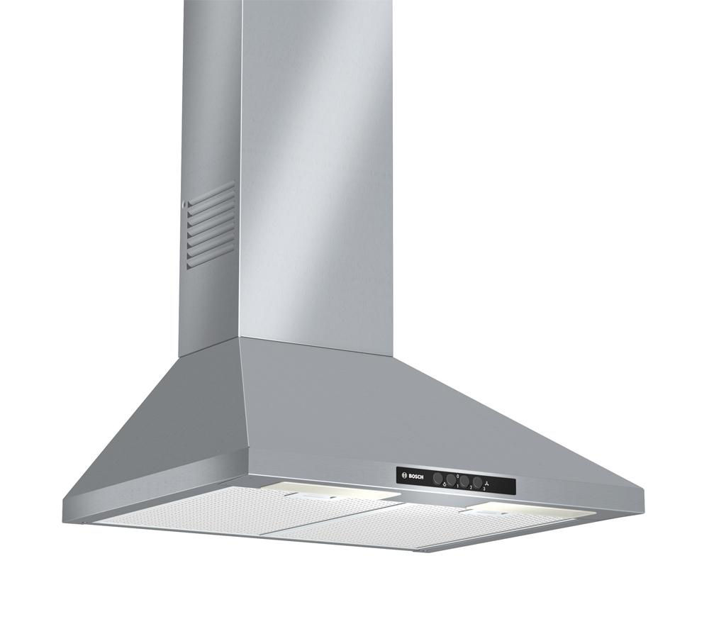 BOSCH DWW06W450B Chimney Cooker Hood – Stainless Steel + PKE645D17 Ceramic Hob – Black