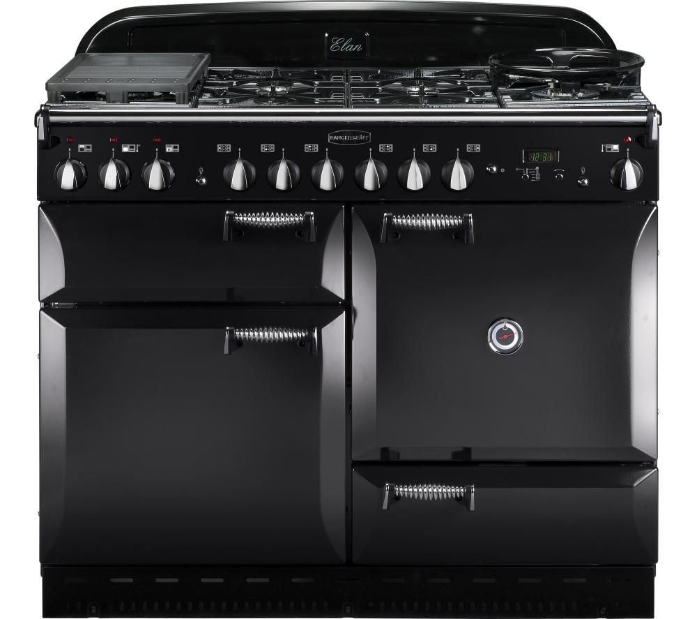 buy rangemaster elan 110 dual fuel range cooker black. Black Bedroom Furniture Sets. Home Design Ideas