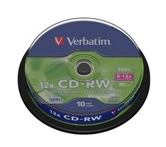 VERBATIM 12x Speed CD-RW Blank CDs - Pack of 10