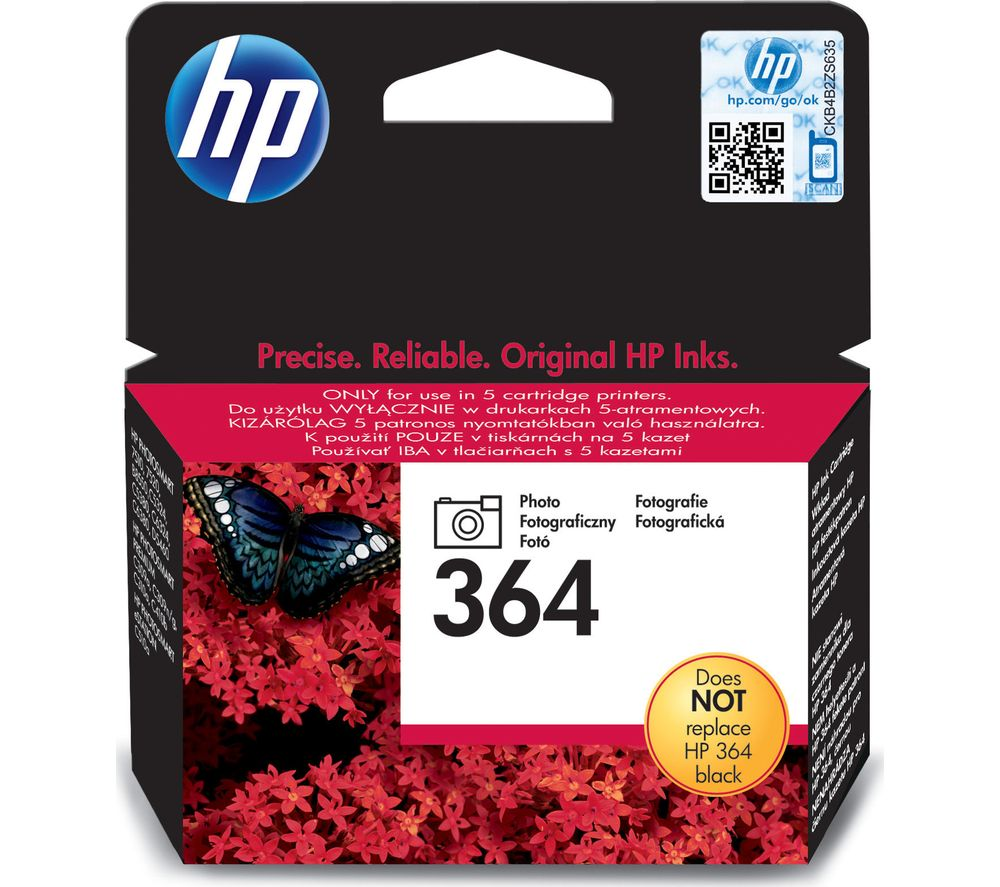 HP 364 Black Photo Ink Cartridge + 100 x 150 mm Photo Paper - 30 Sheets