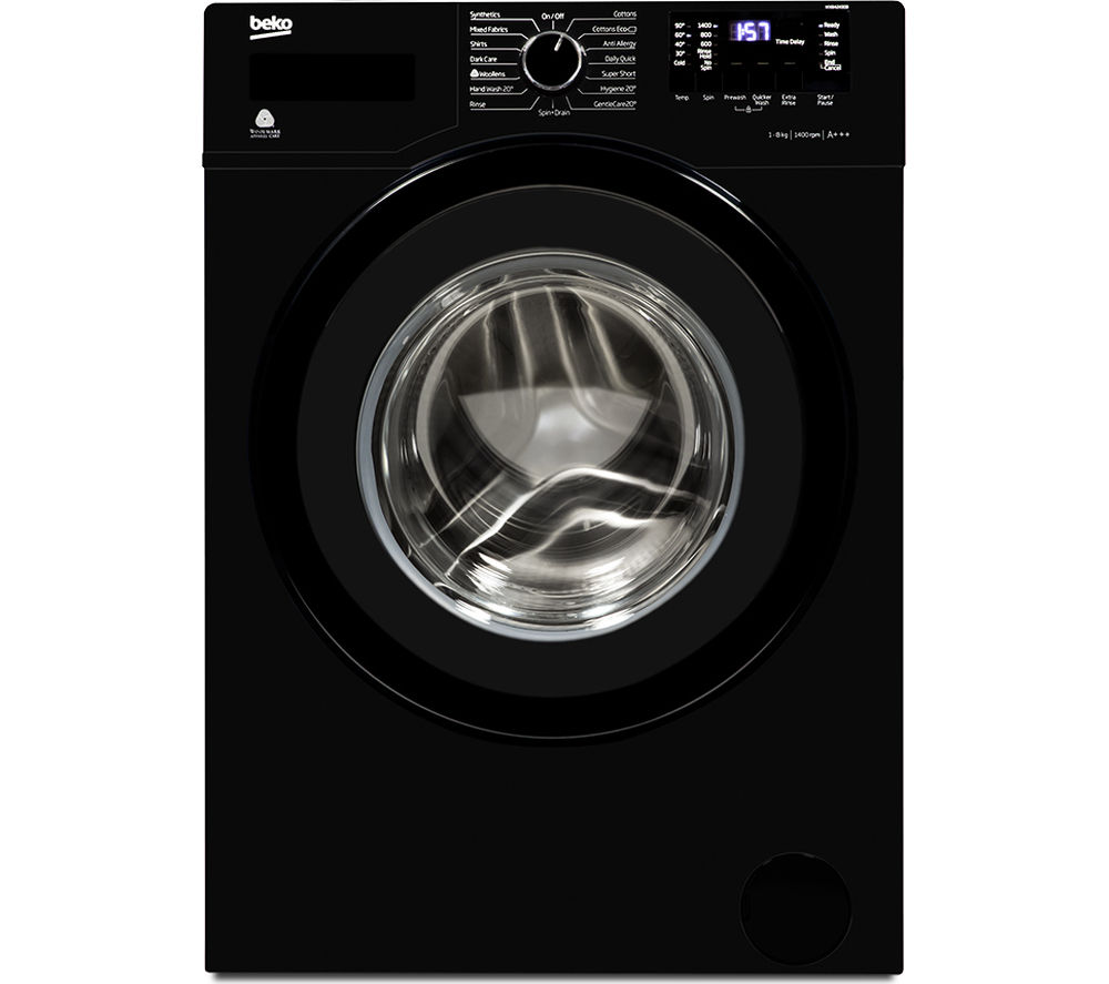 BEKO WX842430B Washing Machine - Black + DCX83100W Condenser Tumble Dryer - White