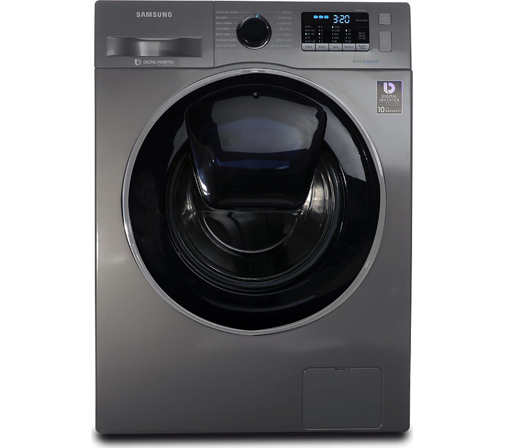 SAMSUNG AddWash WW90K5410UX/EU 9 kg 1400 Spin Washing Machine - Graphite + Serie 2 SMS25EI00G Full-size Dishwasher - Silver