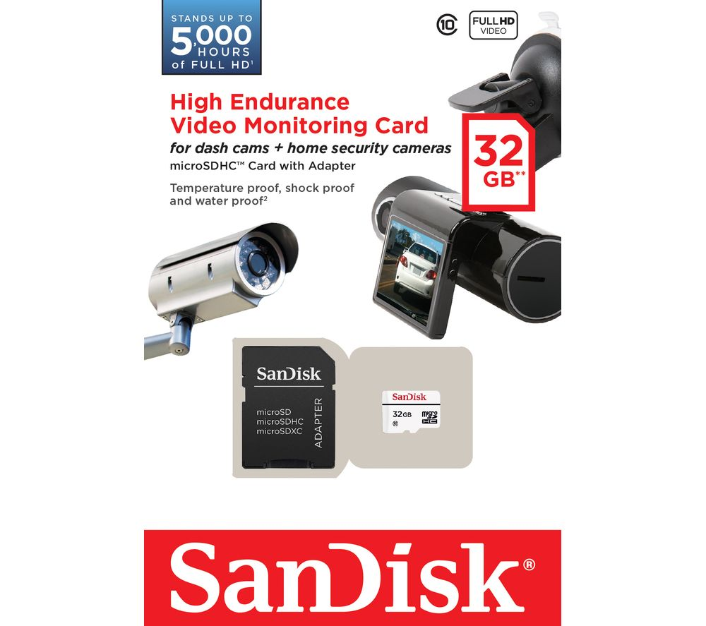 SANDISK High Endurance Video Monitoring Class 10 microSDHC Memory Card - 32 GB
