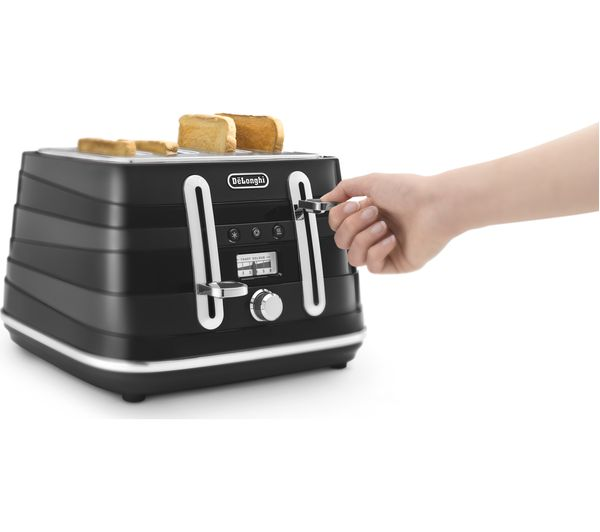 buy delonghi avvolta cta4003bk 4 slice toaster black free delivery currys. Black Bedroom Furniture Sets. Home Design Ideas