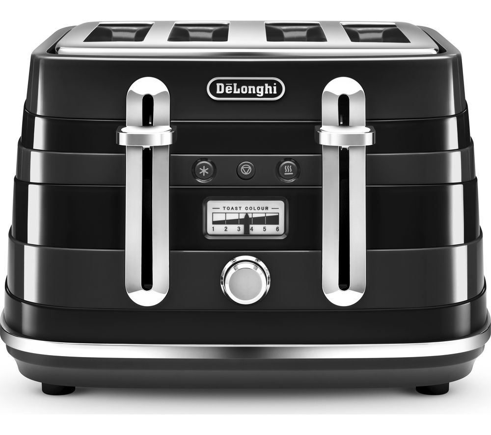 DELONGHI Avvolta CTA4003.B 4-Slice Toaster - Black, Black