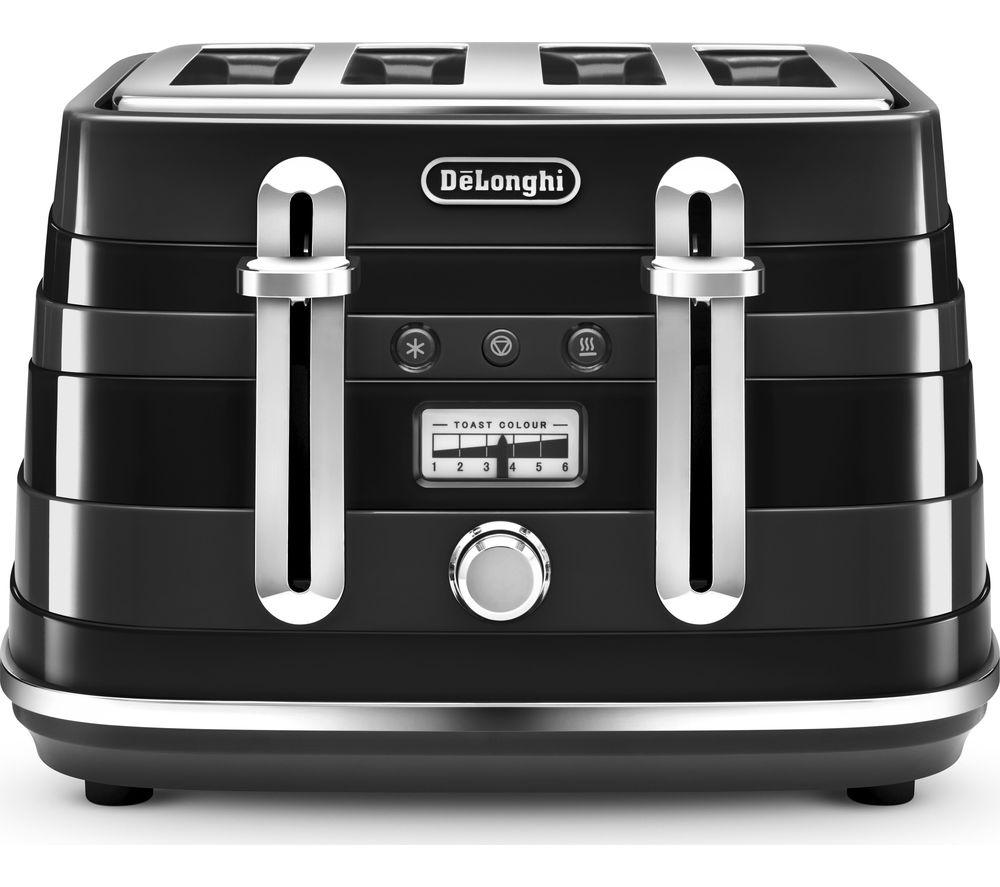 buy delonghi avvolta cta4003 b 4 slice toaster black free delivery currys. Black Bedroom Furniture Sets. Home Design Ideas
