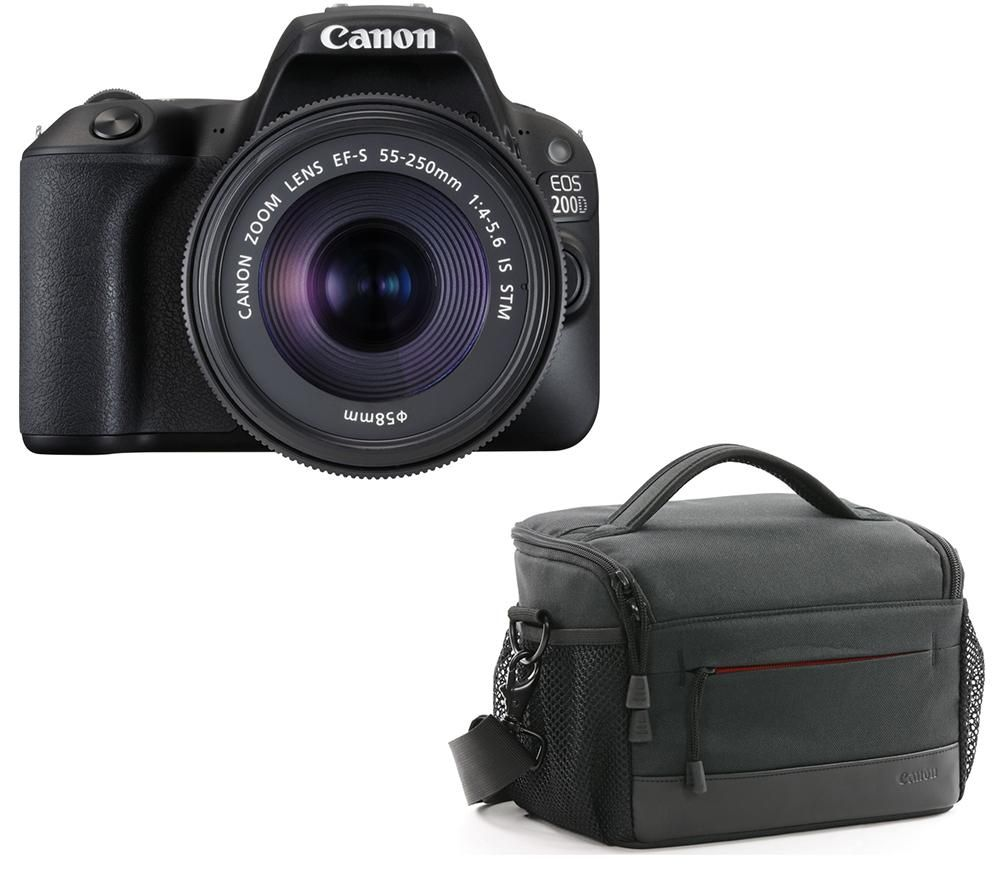 Image of CANON EOS 200D DSLR Camera with EF-S 18-55 mm f/4-5.6 DC Lens & Bag Bundle