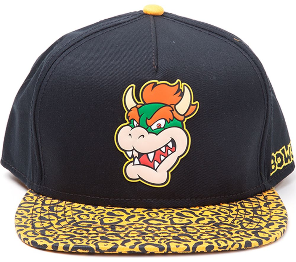 MARIO Bowser Rubber Patch Snapback Cap - Black & Yellow, Black