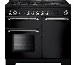 RANGEMASTER Kitchener 100 cm Dual Fuel Range Cooker - Black & Chrome