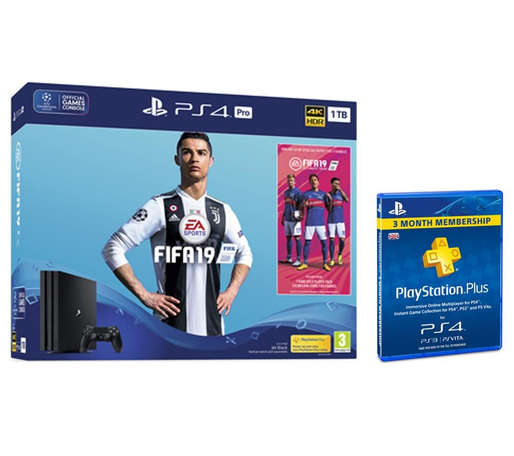 PlayStation 4 Pro with FIFA 19 & PlayStation Plus 3 Month Subscription Bundle