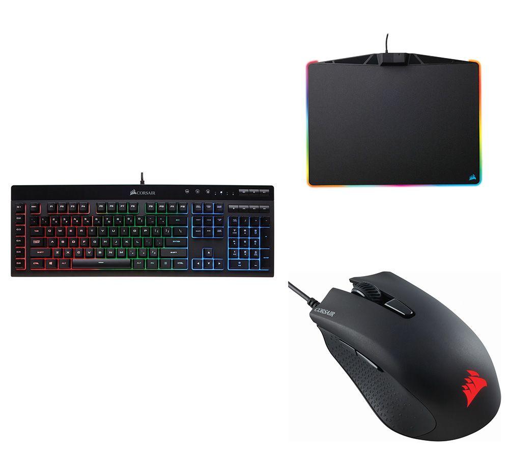 CORSAIR K55 RGB Gaming Keyboard, Harpoon RGB Optical Gaming Mouse & MM800  Polaris Gaming Surface Bundle