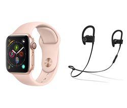 APPLE Watch Series 4 & Powerbeats3 Wireless Bluetooth Headphones Bundle - Gold & Pink Sports Band, 40 mm