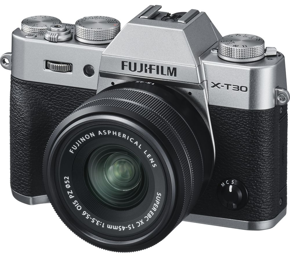 FUJIFILM X-T30 Mirrorless Camera with FUJINON XC 15-45 mm f/3.5-5.6 OIS PZ Lens - Silver