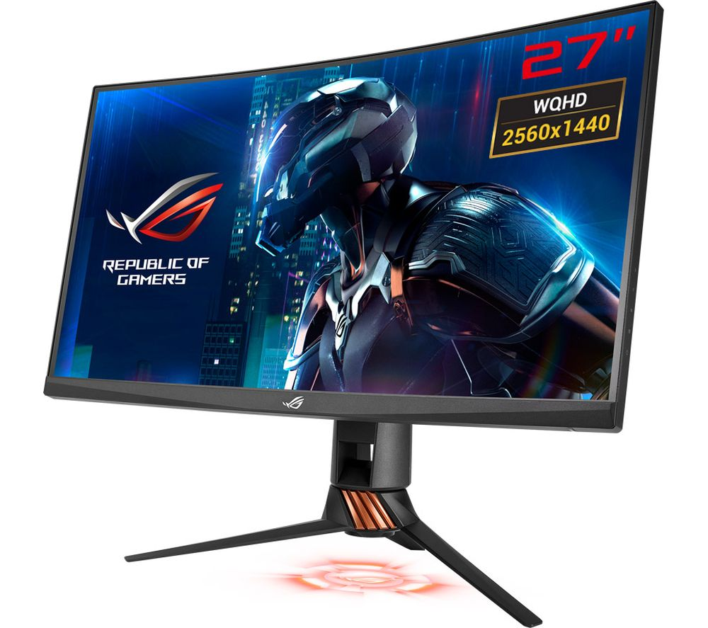 "ASUS ROG Swift PG27VQ Quad HD 27"" Curved LCD Gaming Monitor - Titanium"