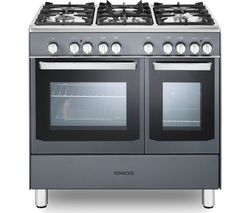 KENWOOD CK406SL 90 cm Dual Fuel Range Cooker - Slate Grey & Chrome Best Price, Cheapest Prices