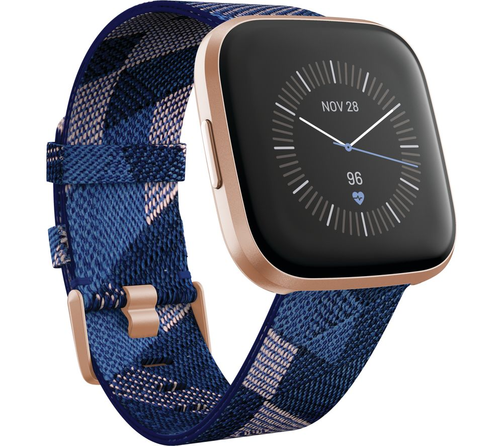 FITBIT Versa 2 Special Edition with Amazon Alexa - Woven Strap, Navy & Pink