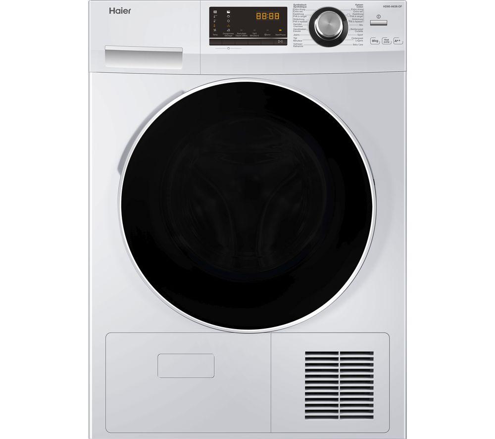 HAIER HD80-A636 8 kg Heat Pump Tumble Dryer – White