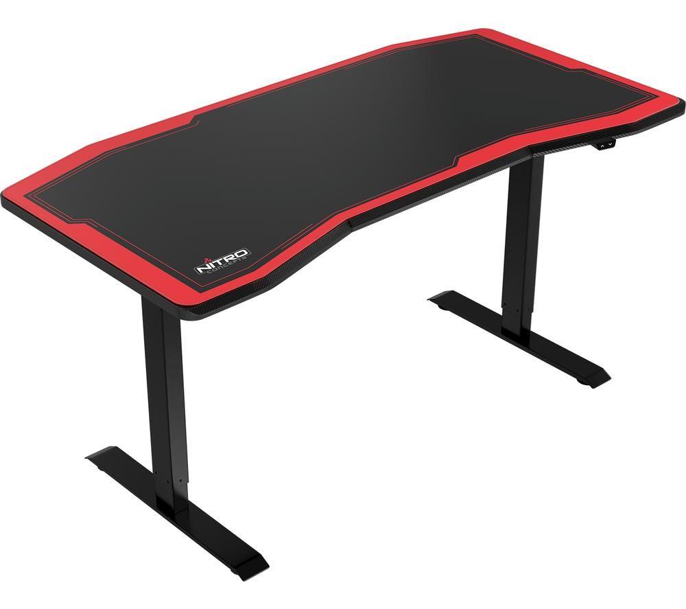 NITRO CONCEPTS D16E Carbon Gaming Desk – Black & Red