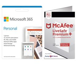 365 Personal for 1 User & McAfee LiveSafe Premium for Unlimited Users Bundle - 1 year