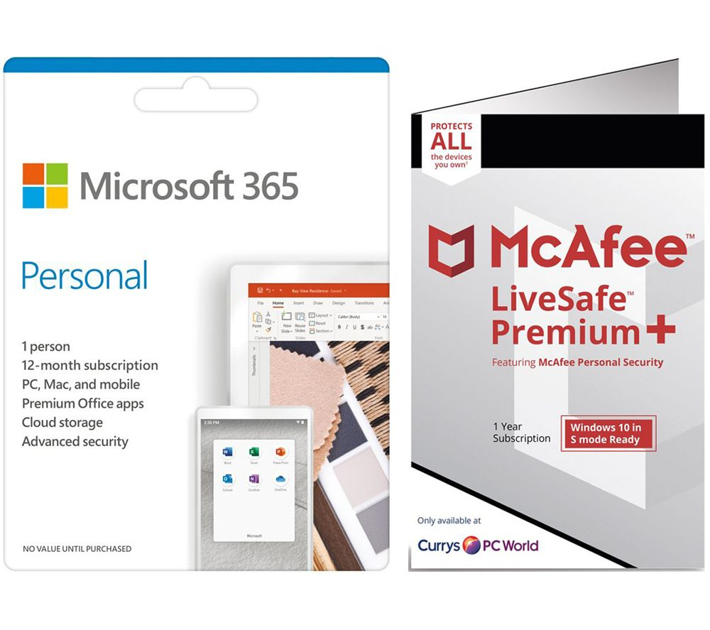 Image of MICROSOFT 365 Personal for 1 User & McAfee LiveSafe Premium 2020 for Unlimited Users Bundle - 1 year