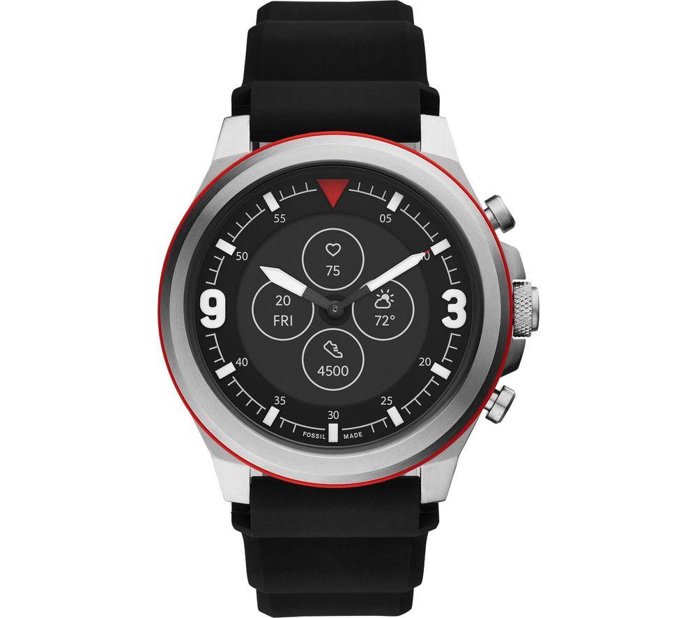 FOSSIL Latitude Hybrid HR FTW7020 Smartwatch - Black, Silicone Strap, 50 mm