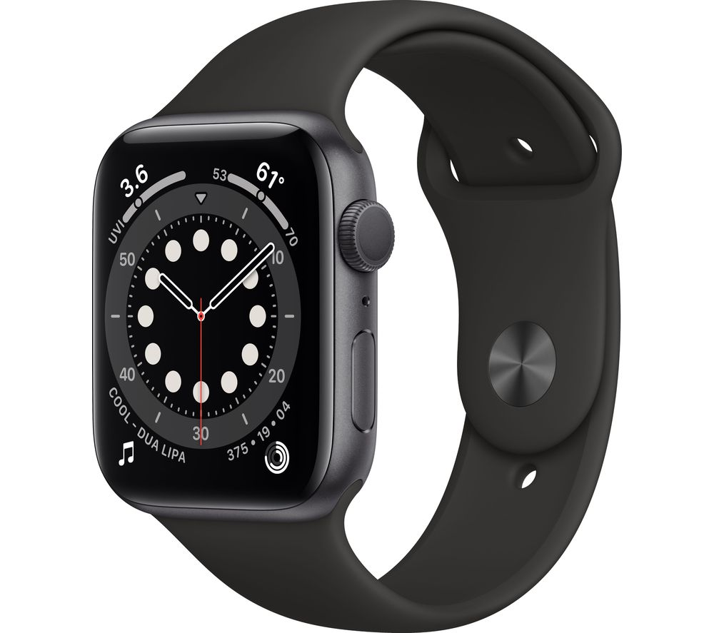APPLE Watch Series 6 Cellular - Space Grey Aluminium with Black Sports Band, 44 mm