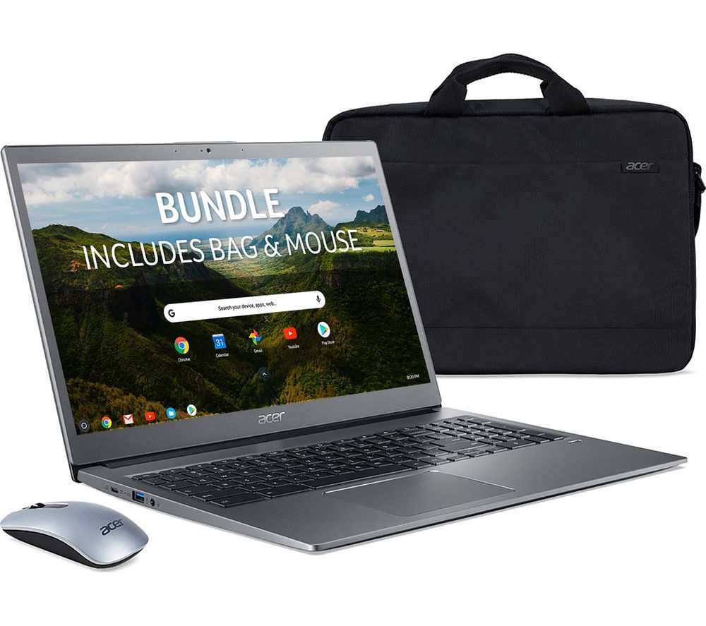 "Image of ACER 715 15.6"" Chromebook, Bag & Mouse Bundle - Intel®Core™ i3, 128 GB eMMC, Grey, Grey"