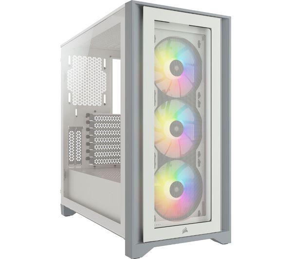 Image of CORSAIR iCUE 4000X ATX Mid-Tower PC Case - White, White