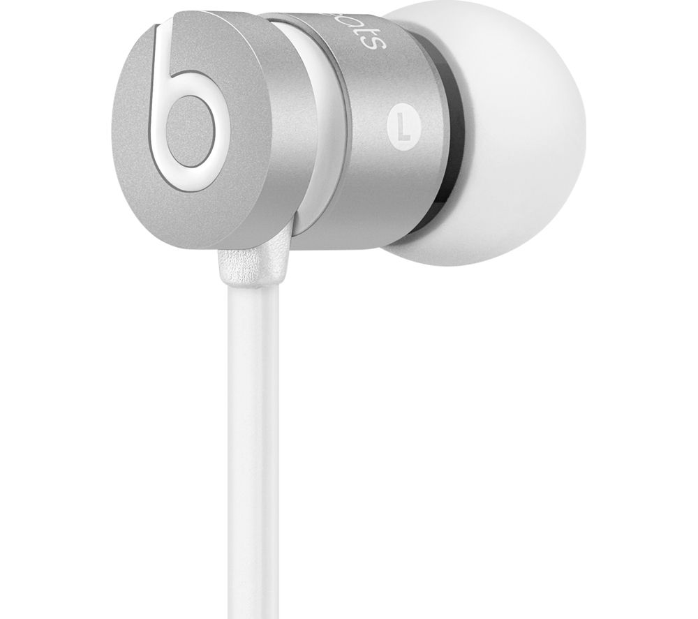 UrBeats Headphones - Silver + iPhone 7 Lightning to 3.5 mm Headphone Jack Adapter