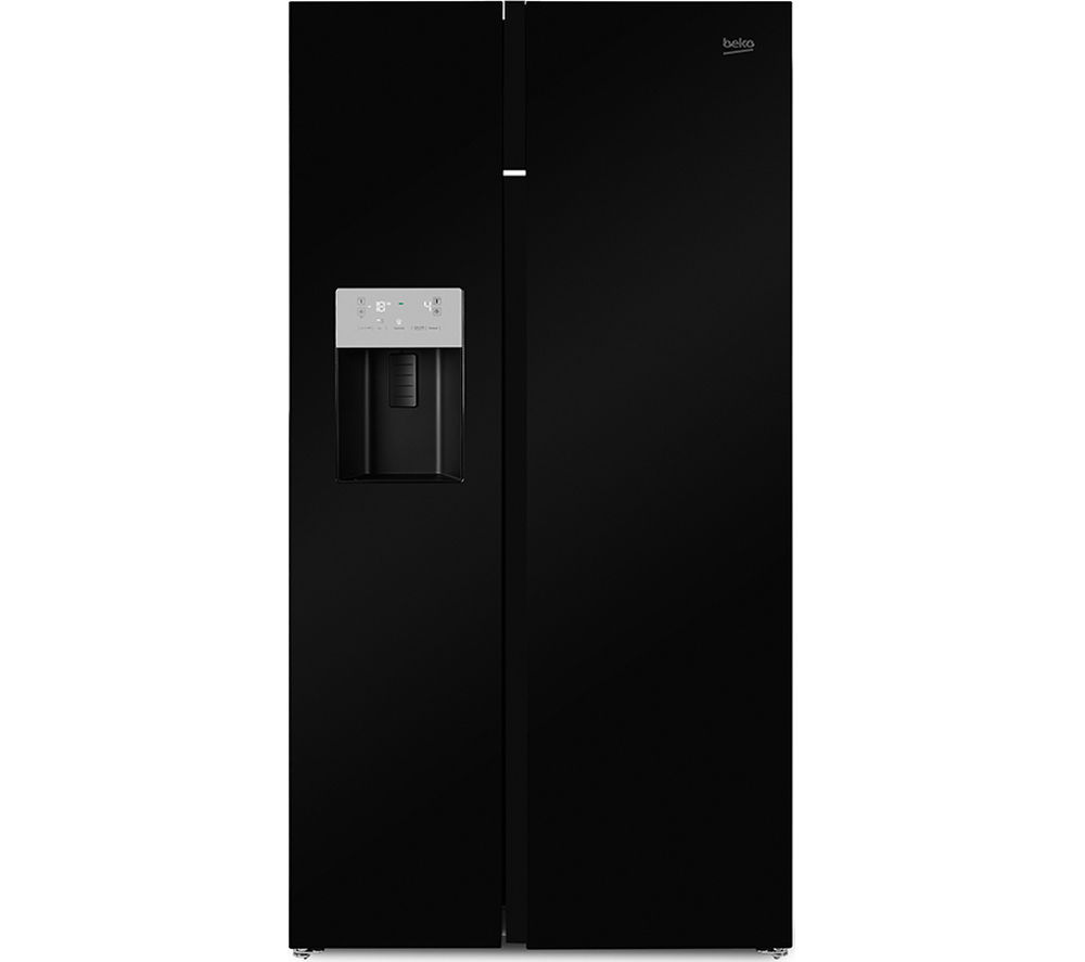 Image of BEKO ASGN542B American-Style Fridge Freezer - Black, Black