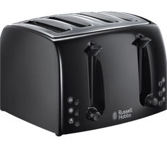 RUSSELL HOBBS Textures 21651 4-Slice Toaster - Black Best Price, Cheapest Prices