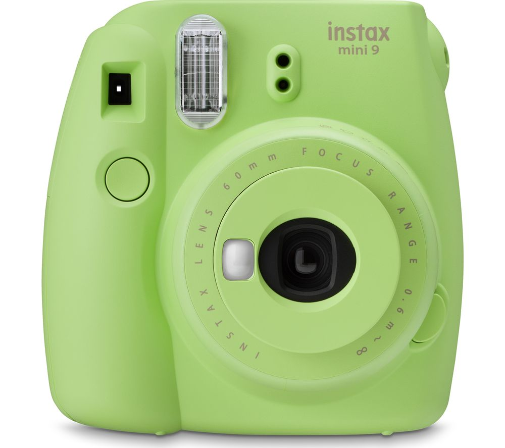 mini 9 Instant Camera - Lime Green + instax Mini Border Film 10 Shots - Black