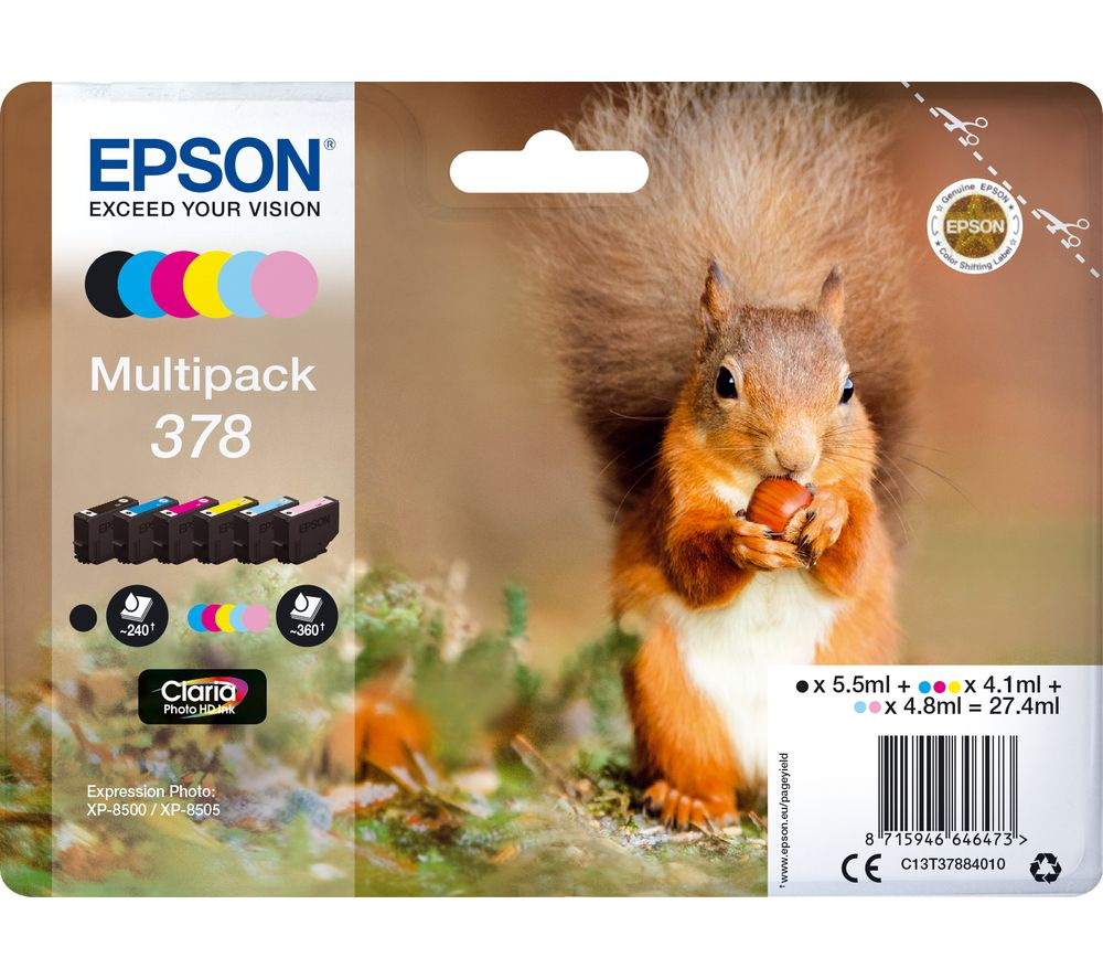 EPSON 378 Squirrel 6-colour Ink Cartridges - Multipack