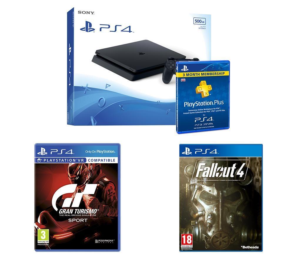 Image of SONY PlayStation 4 Slim, Gran Turismo Sport, Fallout 4 & PlayStation Plus Bundle, Petrol