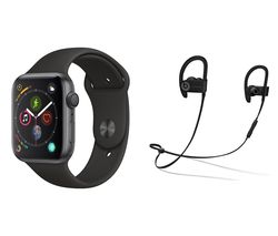 APPLE Watch Series 4 & Beats Powerbeats3 Wireless Bluetooth Headphones Bundle - Space Grey & Black Sports Band, 44 mm