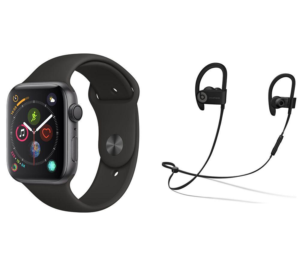 APPLE Watch Series 4 & Beats Powerbeats3 Wireless Bluetooth Headphones Bundle - Space Grey & Black Sports Band, 44 mm, Grey cheapest retail price