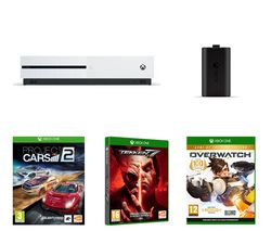 MICROSOFT Xbox One S, Tekken 7, Overwatch, Project Cars 2 & Charge Kit Bundle