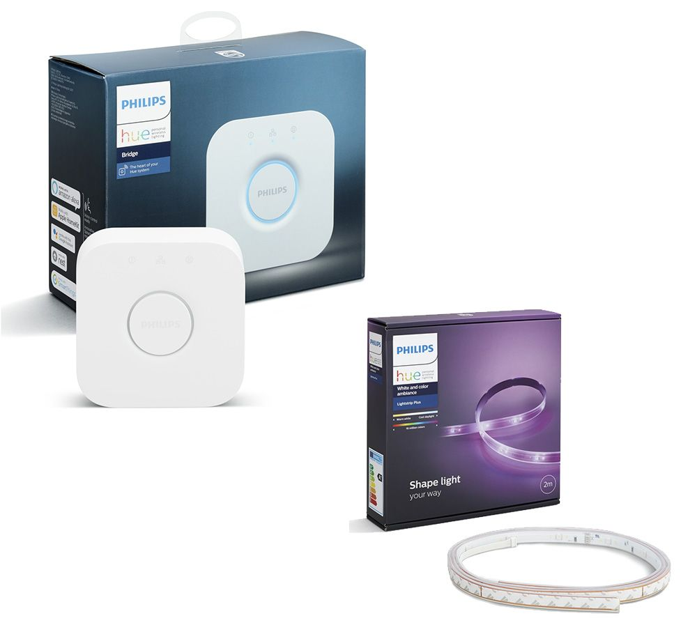 PHILIPS Hue Smart LightStrip Plus Starter Kit & Smart Home Bridge 2.0 Bundle