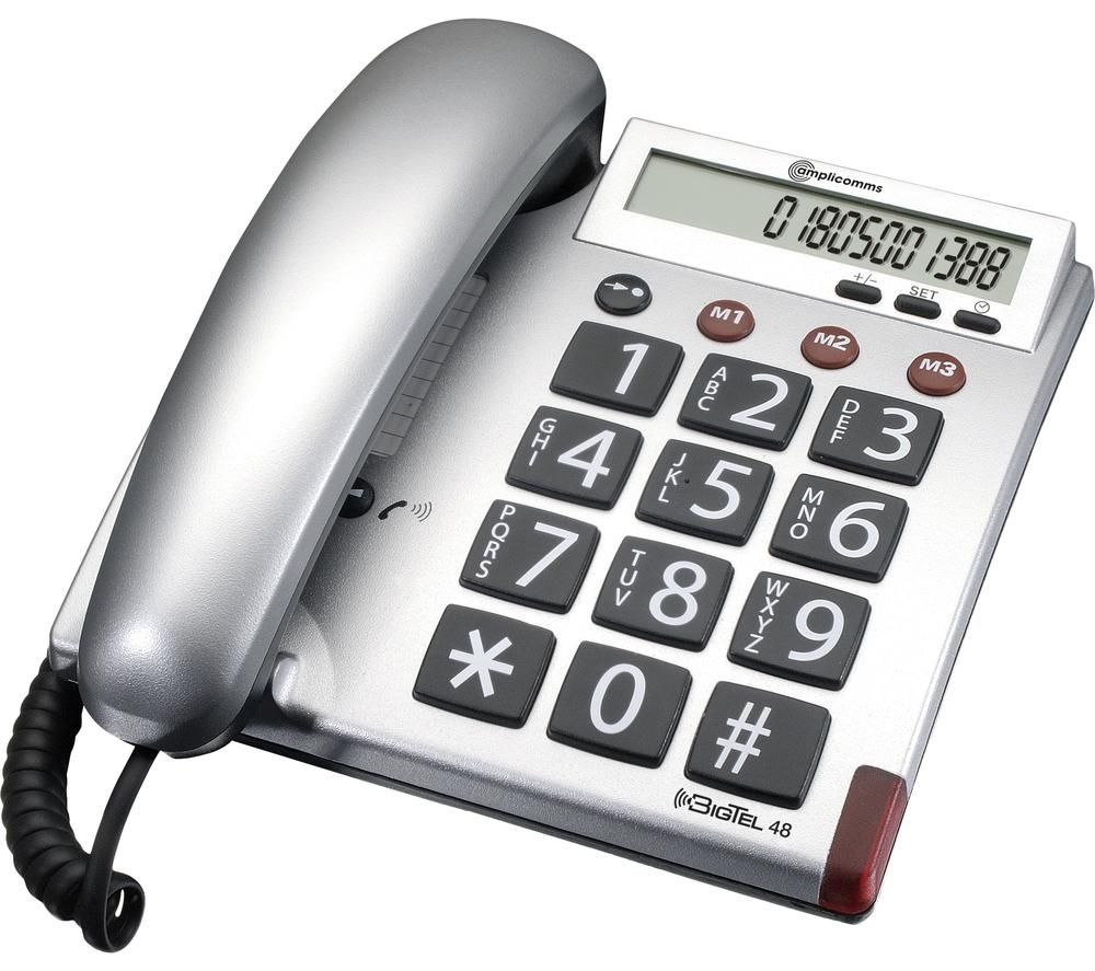 AMPLICOMMS BigTel 48 Plus Corded Phone - Silver, Silver