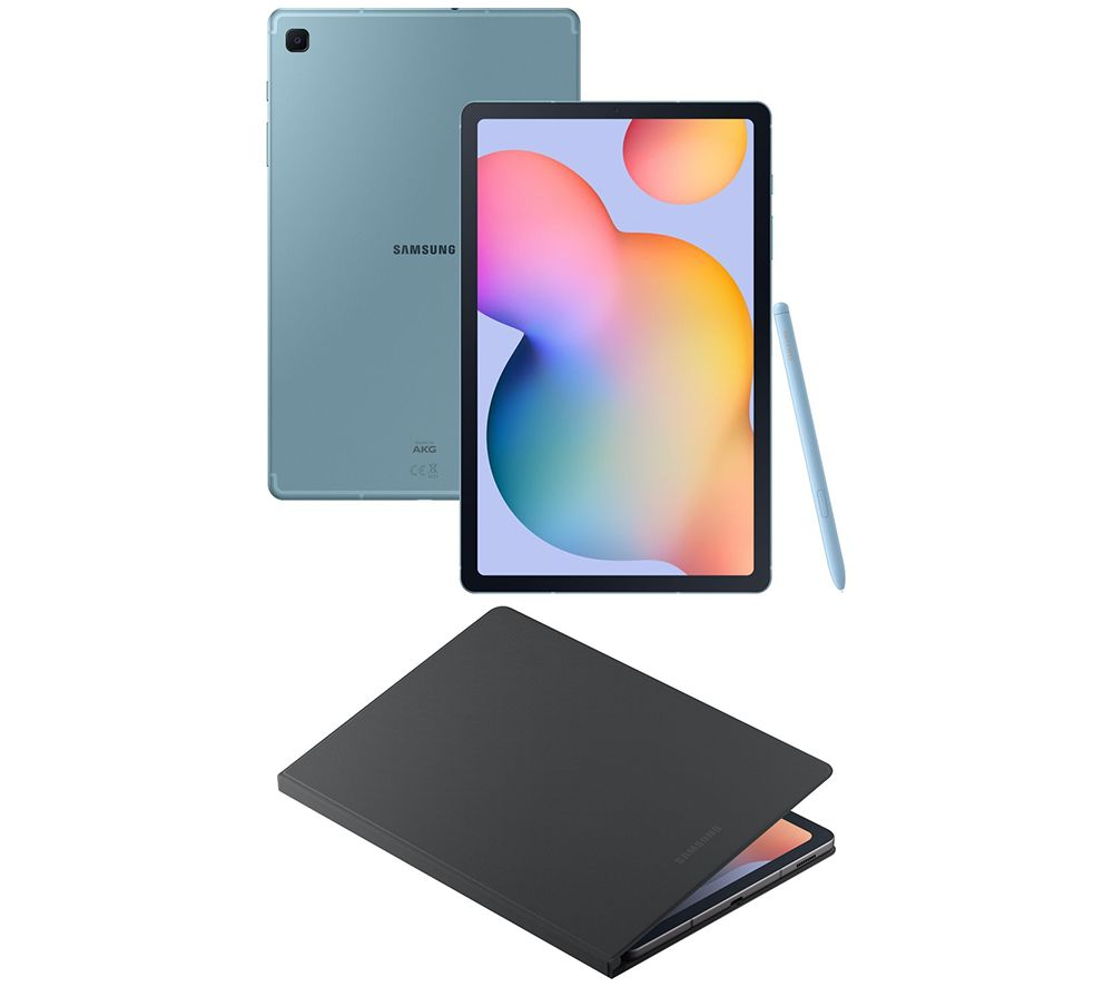 "SAMSUNG Galaxy Tab S6 Lite 10.4"" 4G Tablet & Galaxy Tab S6 Lite 10.4"" Book Cover Bundle - 64 GB, Angora Blue & Oxford Grey, Blue"