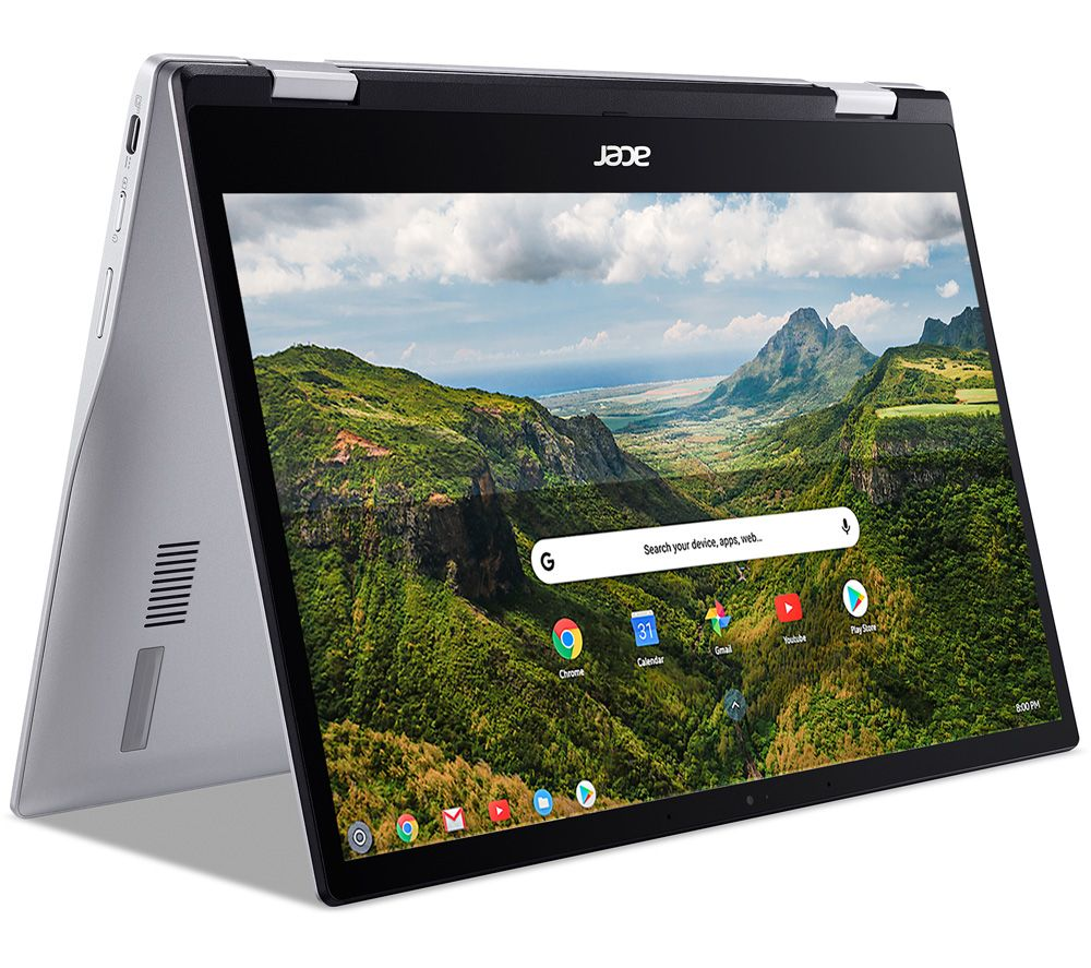 """Image of ACER Spin 513 13.3"""" 2 in 1 Chromebook - Qualcomm SC7180, 64 GB eMMC, Silver, Silver"""