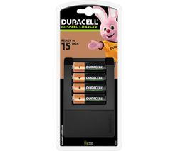 DURACELL CEF15 15 Minute 4-Battery Charger with Batteries